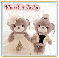 New 1 Pair 25CM DIY Lovers Plush Stuffed Toys. Soft Wedding Dress Teddy Bear Cartoon Doll Valentine Gift Wedding Souvenirs