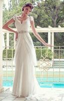 Sexy New V-neck White/Ivory Chiffon Wedding Dress Custom Size