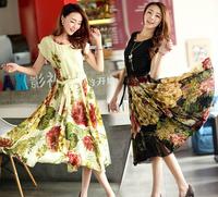 2014 Hot Sale Woman' Dress Sexy O-Neck Large Size Bohemian Style Floral Mid-Calf Chiffon Long Dress Free Shipping