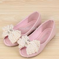 girls pearl bow princess shoes Korean Korean girls shoes children sandals fish head shoes
