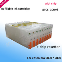 8PCS compatible refillable ink Cartridge  Ink Refill System for Epson Stylus Pro 7800 9800 WITH CHIP RESETTER