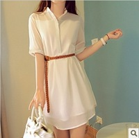 new 2014 fashion women short-sleeve chiffon one-piece dress summer plus size loose button cute dress free shipping