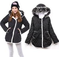 2014 New Women'S Winter Coat Fur Collar Warm Sherpa Lined Coat Large Size Women'S Cotton-Padded Jacket Outerwear WT50-19