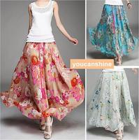 1pc New Fashion Summer Casual Womens Lady Pleated Boho Sea Beach Maxi Flower Print Double Layer Elastic Waist Full Long Skirt