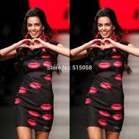 New Fashion Summer Women Red Lips Print Bodycon Midi Dresses Ladies  Casual Bandage Dress 2014 Hot Winter Vestidos