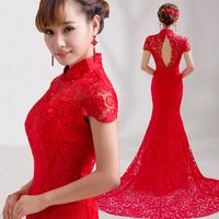 Fast shipping 2014 red bride women's fashion evening dress Q1018