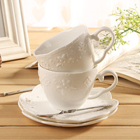 Ceramic relief coffee cup lace butterfly cup set white cup and saucer coffee cup