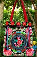 National Trend Embroidered Bag Vintage Handmade Flower Embroidery Tassel Shoulder Bag Women's Big Casual Handbag