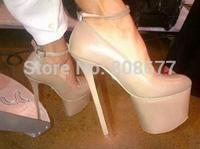 Wholesale GZ Ankle Strap 6 Inch Platform Pumps Black Yellow Pink Orange High Heels Shoes For Woman