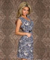 2014 new arrive girl dress   V -neck tunic printed decorative buckle fold reduction dress | clubwear | sexy underwear -038