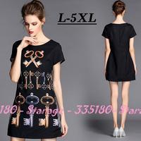 L-5XL Brand Plus Size Women Black Retro Keys Print Short Sleeve Slim Casual Dresses 2014 New Summer Fashion Ladies Clothing G066