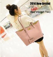 2014 New Arrival PU leather Women's Single Shoulder bag with Dog hanging drop,Female Bow Handbag Messenger Totes 4 color JF591