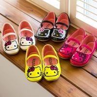 2014 Korean fashion girls shoes single KT super nice shape quality flat princess Leather shoes F044 1067
