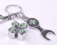 Free shipping selling good quality for Skoda car standard car full metal tire valve cap 4pcs + wrench key chain for Skoda