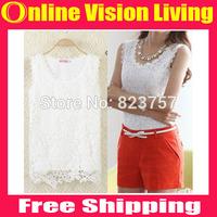 Free Ship Fashion New Women Knitted Cotton Lace Vest Ladies Plus Size Basic Sleeveless Lace White and Black Tank Tops S-XXLA0297