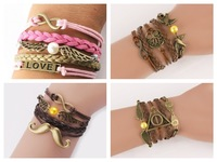2014 Hot Sale Womens Fashion Vintage Rudder Leather Bracelet Multilayer Bracelets Girl Jewelry Wholesale Bangle FREE SHIPPING