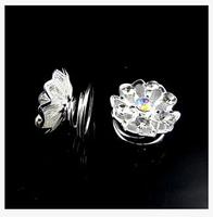 120 PCS Flower Rhinestone screw clamp spring buckle Hair Pins Bridal Wedding Hair Spins Free Shipping