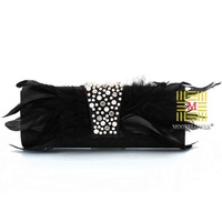 2014 New Vintage Peacock Feathers Clutch evening bag with  Feathers Diamond Beaded  clutch handbags purse 3 colors 1 pc/lot