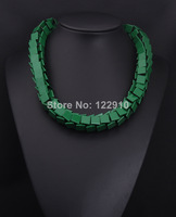 ZA High alloy  clavicle short yellow green box  jewelry exaggerated fashion  statement necklace Necklaces & Pendants For Women
