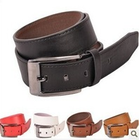 new 2014 5 colors men strap brand genuine leather belts for men with logo on the strap and buckle jeans belt