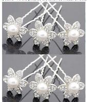 Wholesale 120pcs/lot Rhinestone Flower Pearl U-shape Hair Pins. Wedding Party Hair Clips Fashion Hair Jewelry Free Shipping