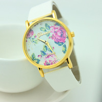 2014 New Fashion Leather GENEVA Rose Flower Watch Women Dress Watch stylish Quartz Watches mint green free shipping