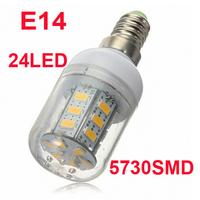 Drop shipping 24LEDs SMD 5730 LED corn bulb lamp, 9W SMD5730 E14 LED 5730SMD spotlight 220V Warm white/ white led lighting
