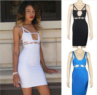 Free Shipping European and America Fashion sexy halter backless strap bandage women dress clubwear evening ladies dress vestidos