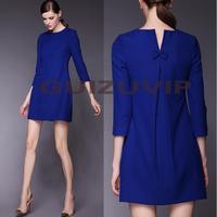 Quality Europe Brand casual novelty dress new fashion autumn 2014 summer work dresses women black blue plus size XXL XXXL bow