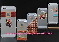 HOT Funny Mario Sailor Moon Popeye LOGO Transparent case for iphone 5 5s cell phone cases covers for iphone5s free shipping