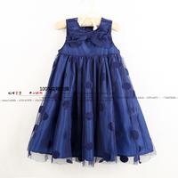 new 2014 summer dress girls clothes child sleeveless vestido baby girls Bow dot princess dress kids knee-length dresses