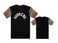 Fashion hip hop mens t-shirt Supreme men's clothing cotton leather shortsleeve man t shirts high quality cotton tee shirt