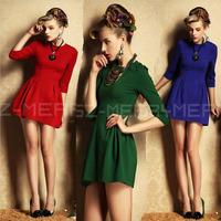 Quality brand casual novelty dresses new autumn 2014 winter dress women prince office work dress green black red blue S M L XL
