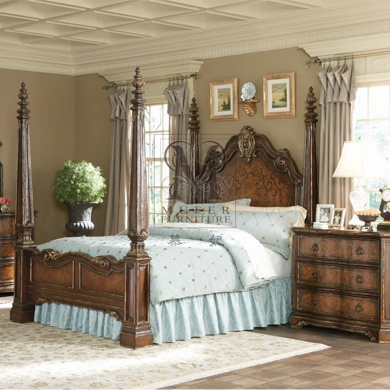 American neo classical furniture custom solid wood bedroom furniture hooker american four poster - Custom bedroom furniture ...