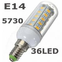 Retail 220V 12w E14 SMD 5730 LED corn bulb lamp 36 LEDS Warm white /white led lighting,5730 E14 lamp 36LED free drop shipping