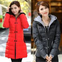 Korean Women Long Sleeve Thicken Fleece Hooded Parka Winter Coat Jacket Outwear Plus Size XL XXL XXXL Free Shipping