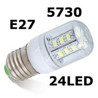 Retail New hot sale 9W E27 SMD 5730 E27 LED corn bulb lamp, 220V 24 LEDs,Warm white /white,waterproof,dropshipping 5730LED light