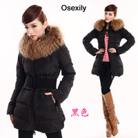 free shipping 2014 winter thick large fur collar down coat white duck feather women's long warm watertight jacket coats