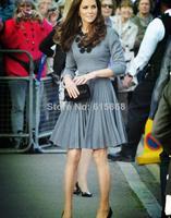 New Spring autumn Dress Princess Kate same style handmade flower stick thin models fashion long sleeve dress Slim