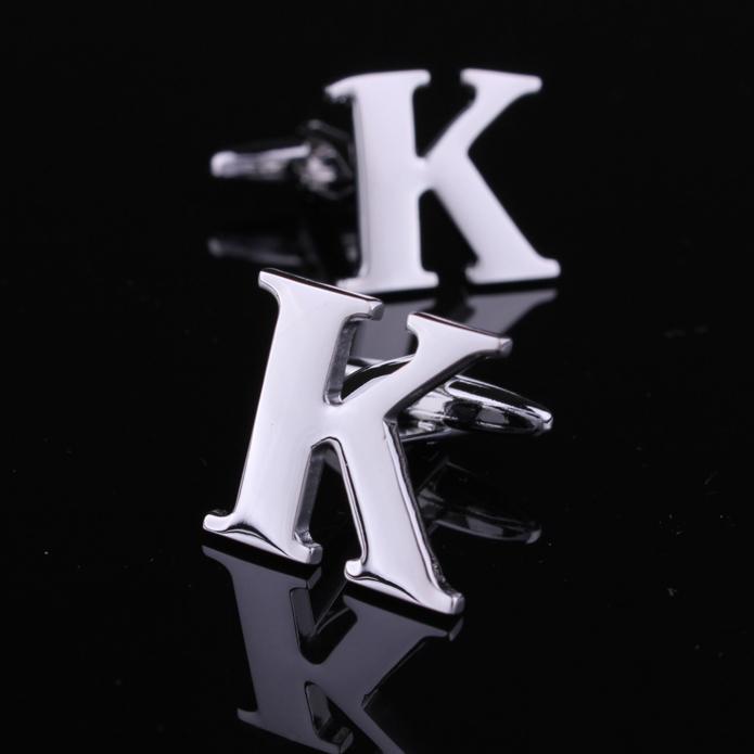 raro fantasia moderna letra k cor prata abotoaduras men's camisa vestido de casamento noivo partido dos negócios abotoaduras novo dom(China (Mainland))