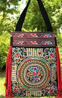 National trend Embroidery Bag Vintage Casual Wood Bead Tassel Embroidered Shoulder Bag Women's Big Handbag