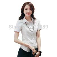 plus size2014 summer women fashion white short-sleeve shirt solid color diamond shirt women work wear shirt turn-down collar