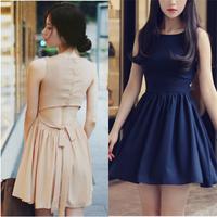 Free shipping new women's summer Chiffon dress Slim waist sleeveless bow bottoming dress