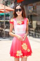 2014 summer chiffon one-piece dress women's slim elegant short-sleeve dress long plus size new fashion hot selling high quality