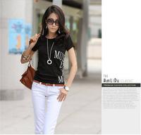 New 2014 summer dress t-shirt women shorts Letter black and white t shirt  crop top plus size S-XXXL women's clothing