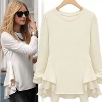 free shipping 2014 new autumn long sleeve women blouse elegant casual ruffle shirts female
