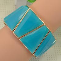 Unique Style Blue Trapezoid Shape Stretch Wide Cuff Bracelet Bangle For Women