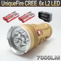 UniqueFire 6x Cree XM-L L2 7000Lm LED Flashlight Torch Light Lamp UF-V10-6 + 4x 18650 3000MAH Battery +Charger (Gold )