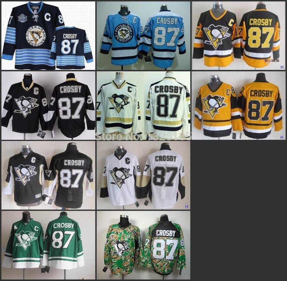 Pittsburgh penguins # 87 Sidney Crosby camo giallo blu verde bianco nero maglie hockey ghiaccio invernale maglia cucita spedizione gratuita