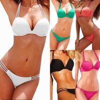 Attractive  Swimsuit Bikini Swimwear Padded   Split swimsuit